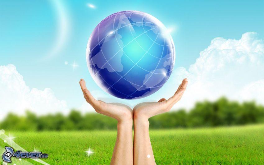 Tierra, manos, hierba
