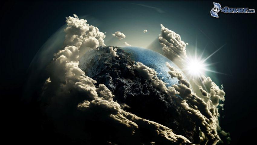 Tierra, nubes, sol