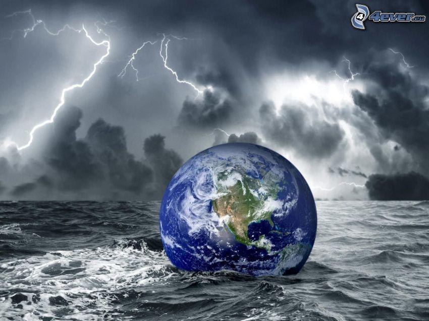 Tierra, océano, tormenta