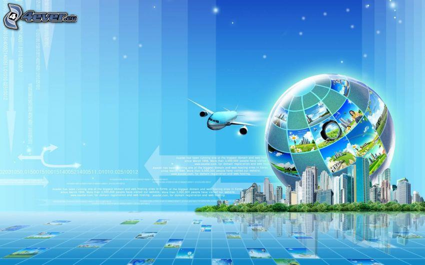 Tierra, rascacielos, avión, mar