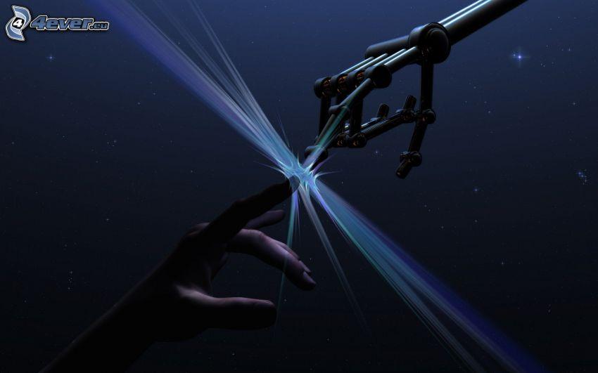 toque, manos, hombre, robot, luz intensa