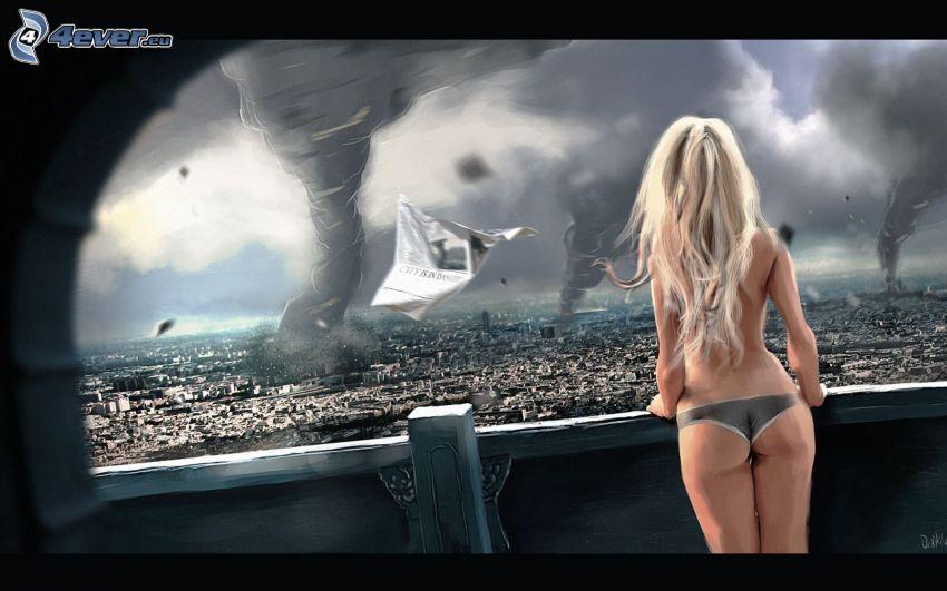 tornado, mujer en ropa inferior, topless, rubia, vistas a la ciudad