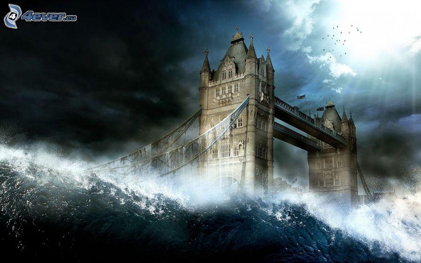 Tower Bridge, agua, luz, nubes, arte digital