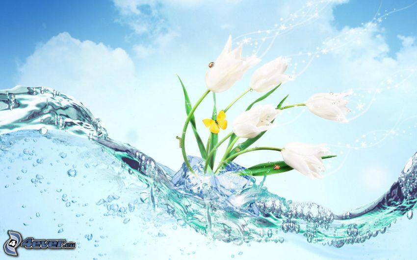 tulipanes, mar, ola