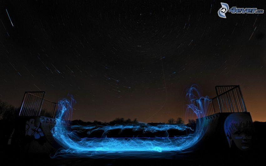 U-ramp, cielo estrellado, luces