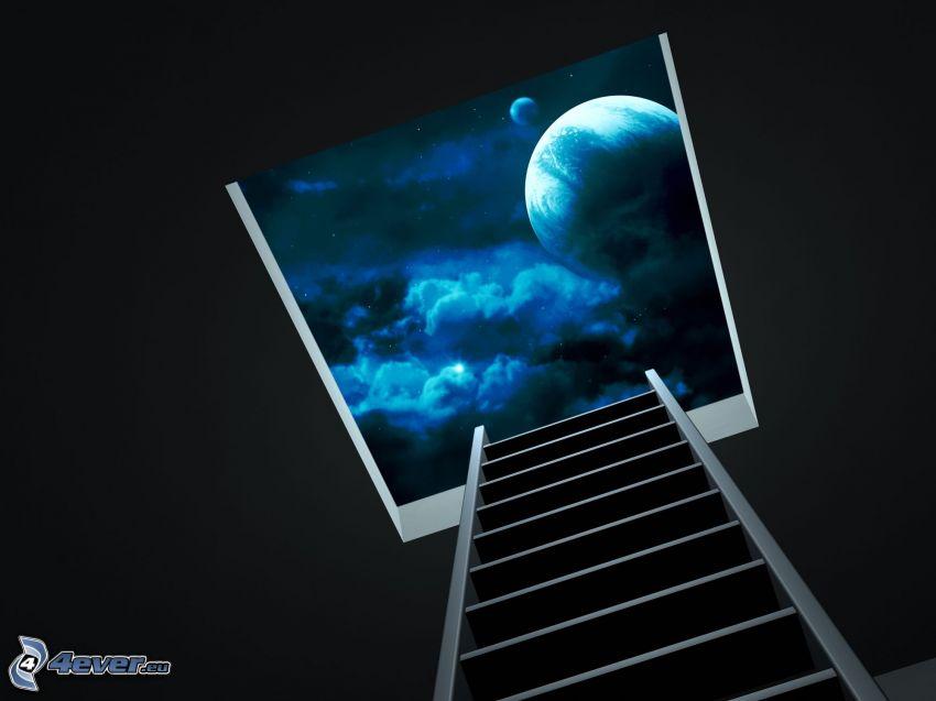 universo, ventana, escalera
