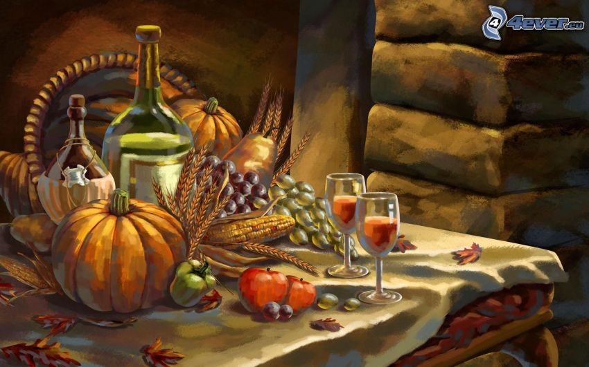 verduras, vino, calabaza