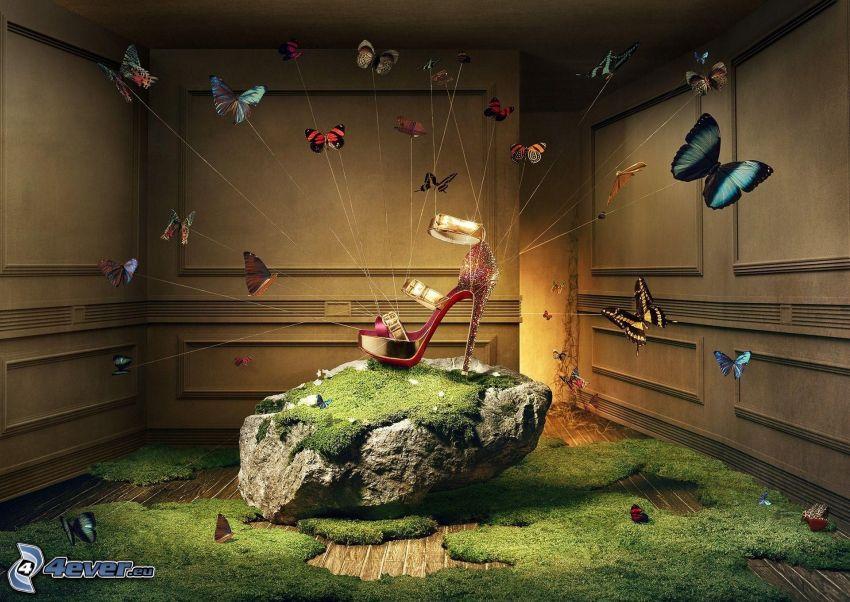 zapato, roca, mariposas de colores