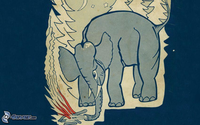 elefante, fuego