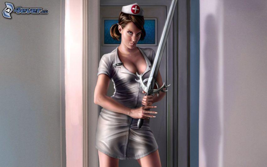 enfermera, espada