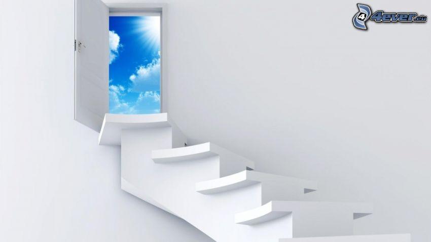 escalera al cielo, puerta, cielo, sol, nubes