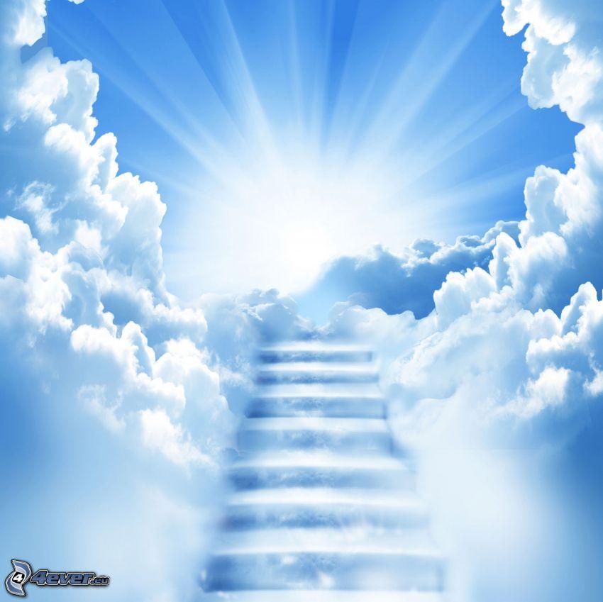 escalera al cielo, sol, nubes