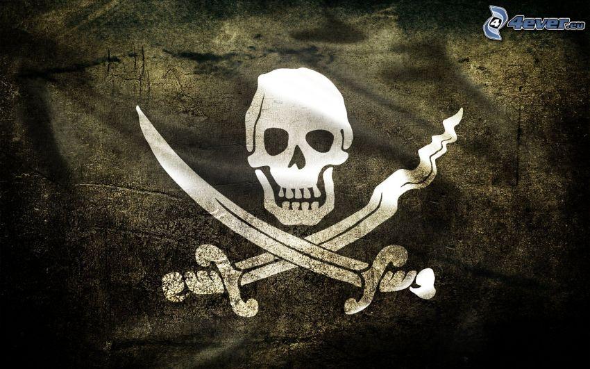 esqueleto, espadas, Piratas, bandera