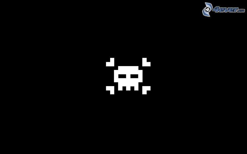 esqueleto, pixel, fondo negro
