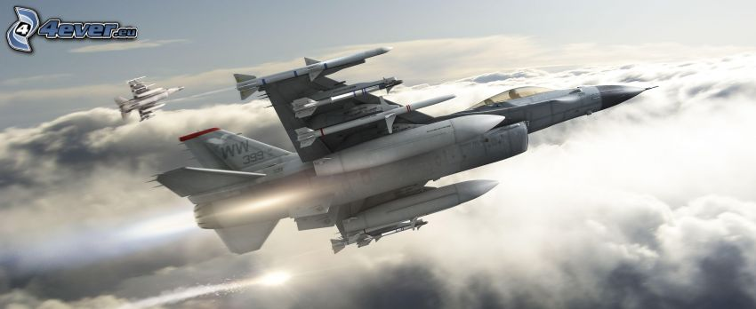 F-16 Fighting Falcon, encima de las nubes
