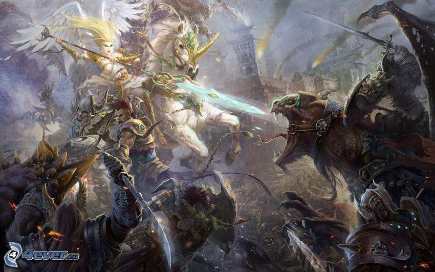Fantasy Wars, caricatura de mujer, unicornio, dragón