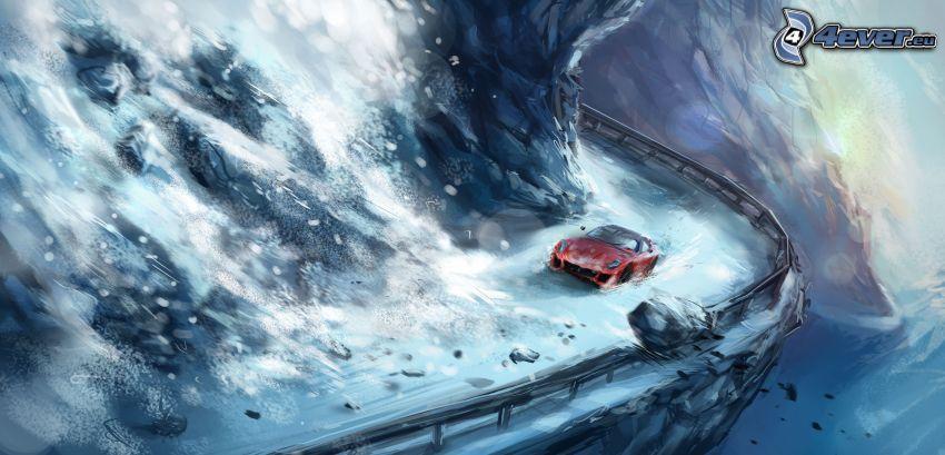 Ferrari, nieve, alud, dibujos animados de coche
