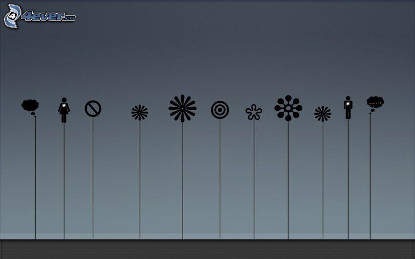 flores digitales, caracteres
