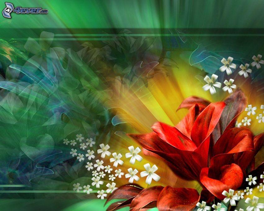 flores rojas, flores blancas, fondo verde