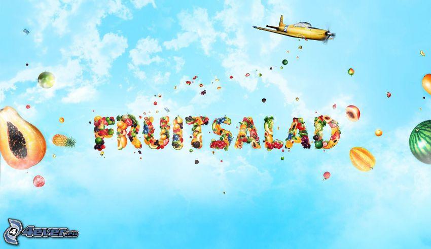 fruta, text, avión, cielo