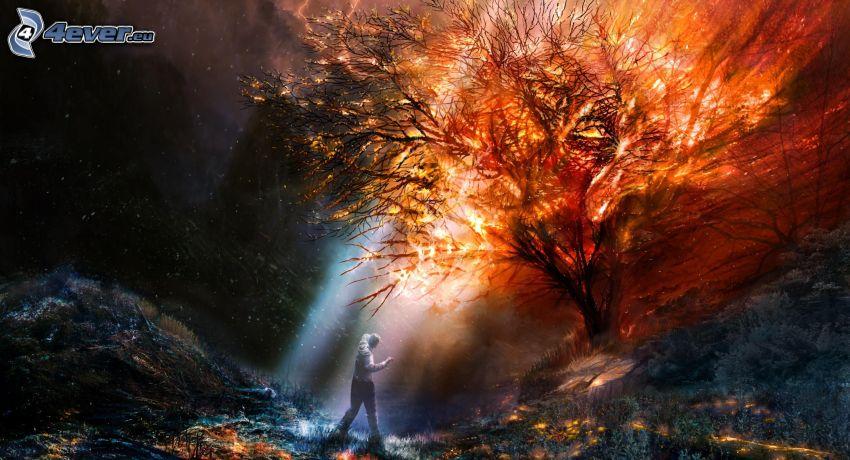 fuego, luz intensa, hombre