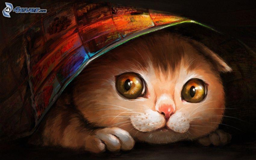 gato de la historieta, periódico, dibujo