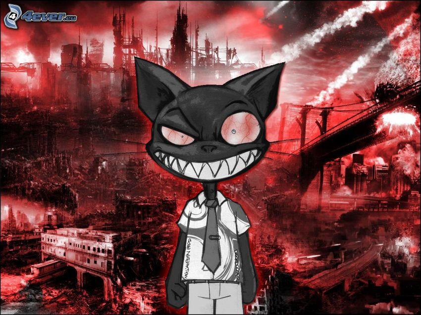gato negro, ciudad post-apocalíptica