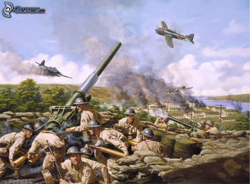 guerra, cañón, soldados, avión