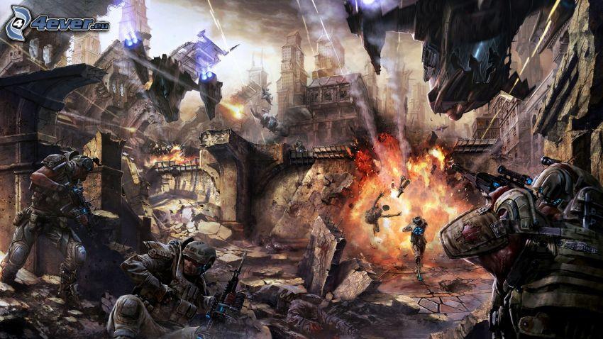 guerra, explosión, ciudad en ruinas