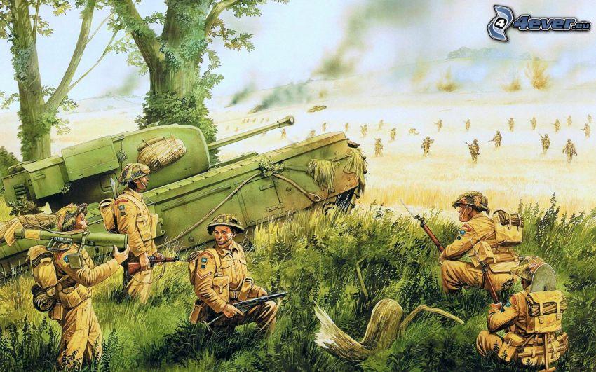 guerra, soldados, tanque