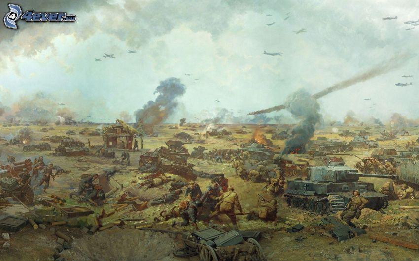 guerra, soldados, tanques