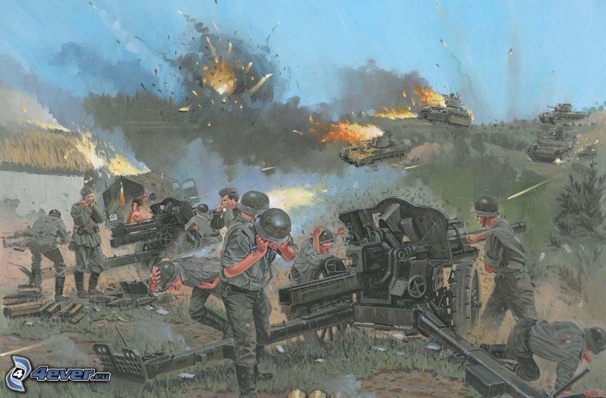 guerra, tanques, soldados, disparo
