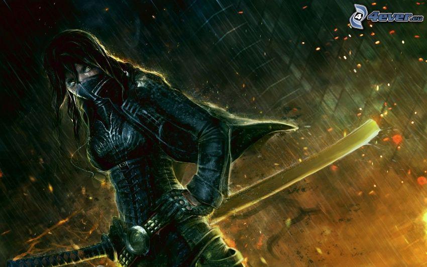 guerrera, lluvia, noche