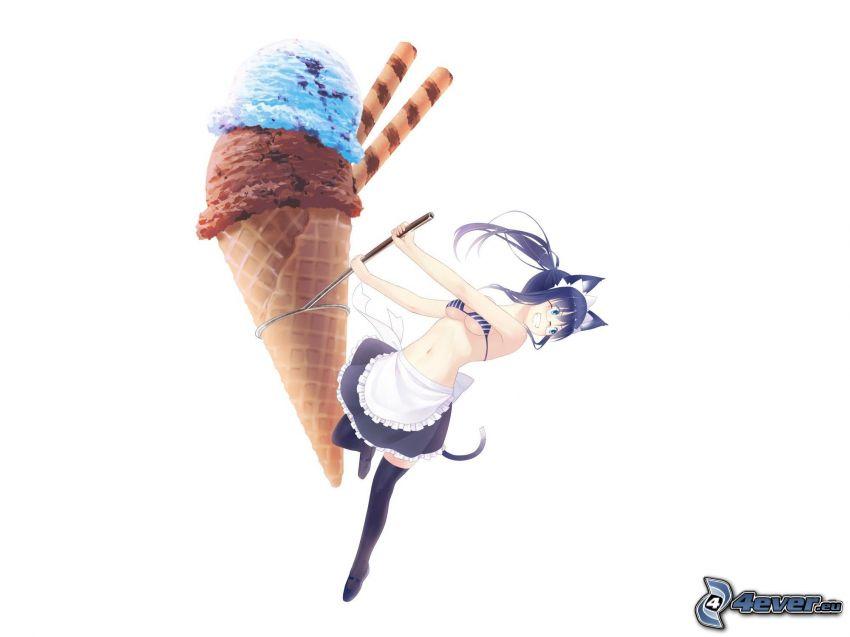 helado, chica anime