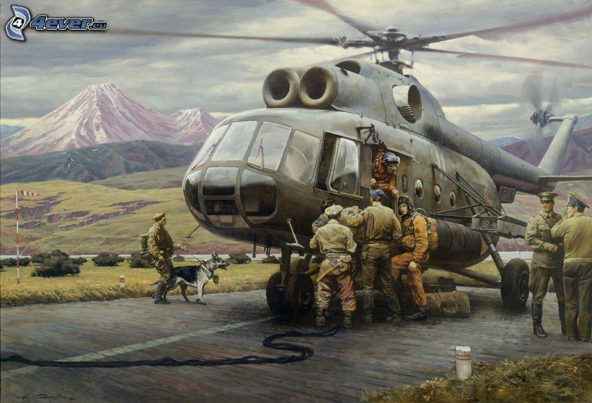 helicóptero militar, soldados