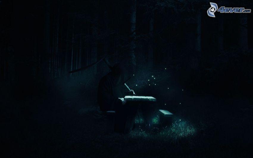 hombre, bosque oscuro