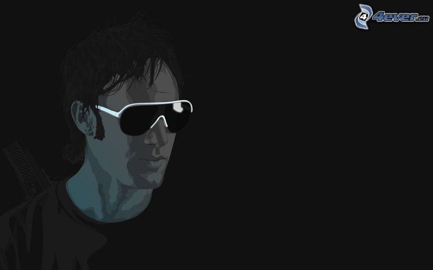 hombre, gafas de sol