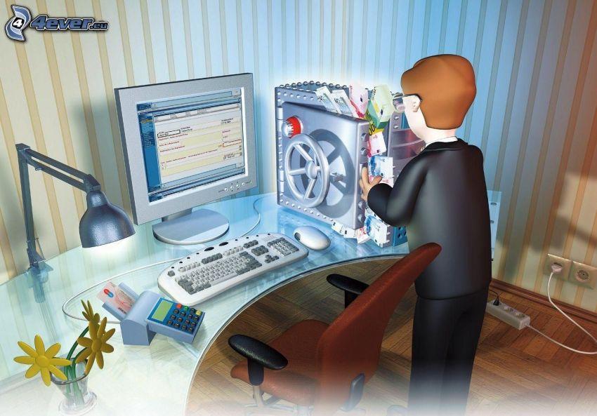 hombre, ordenador, oficina