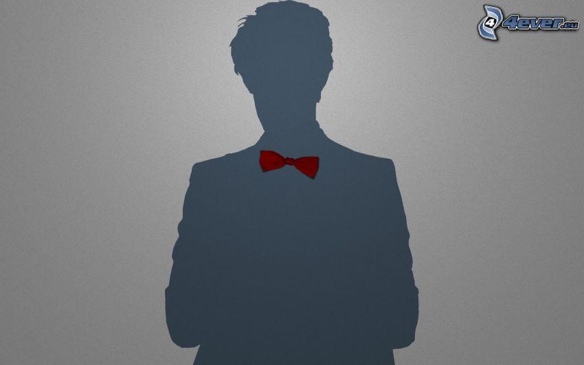 hombre, silueta, corbata de lazo