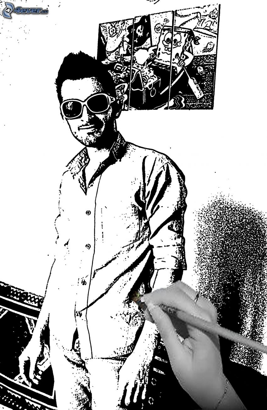hombre animados, gafas de sol, Spongebob, mano, pluma, dibujo