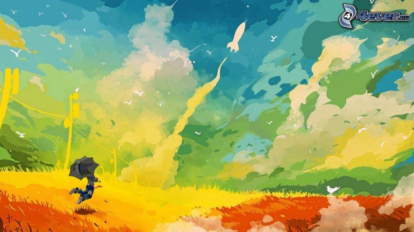 Hombre con paraguas, fondo de colores, nubes