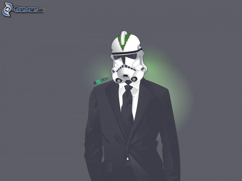 hombre en traje, máscara, Stormtrooper