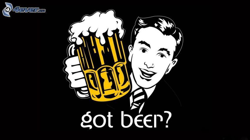 hombre en traje, vaso de cerveza, text