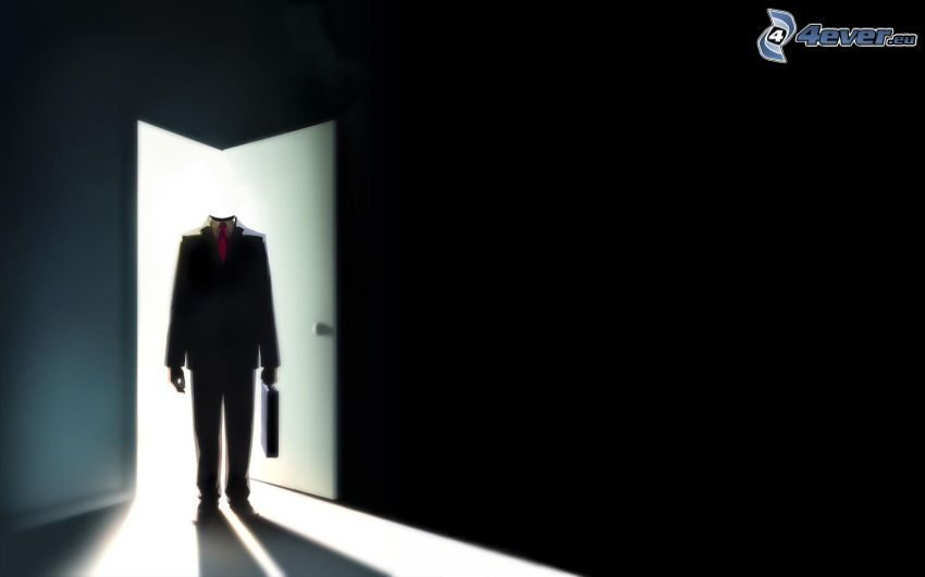 hombre sin cabeza, puerta