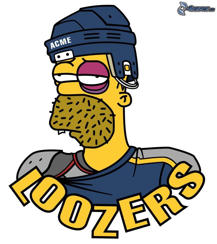 Homer Simpson, Los Simpson, loozers, jugador de hockey, monóculo