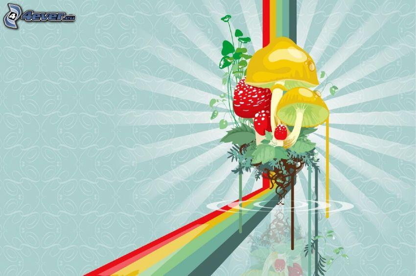 hongos, tiras de colores
