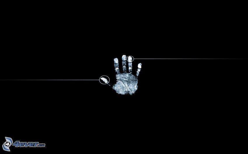 huella de mano, fondo negro
