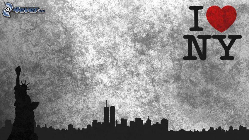 I love NY, Estatua de la Libertad, silueta de la ciudad