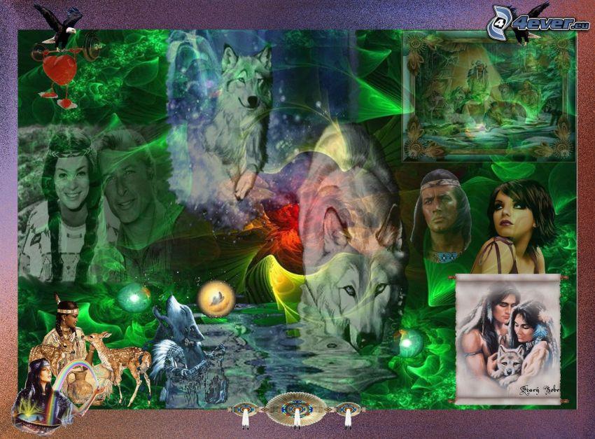 Indios, lobos de dibujos animados, águila, collage