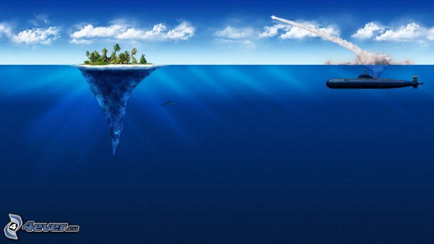 isla, submarino, mar